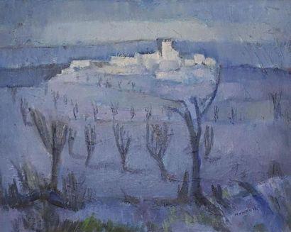 René MONTEIX (1908-1997). Village bleu Huile sur panneau d'isorel, signée en bas...
