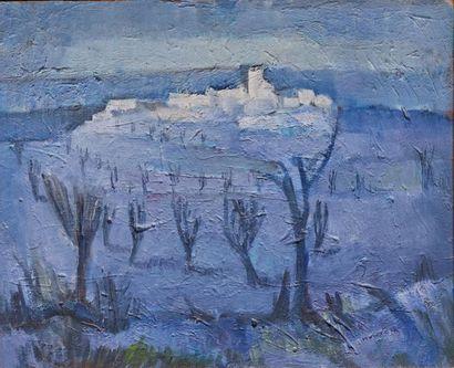 René MONTEIX (1908-1997). Village bleu Huile...