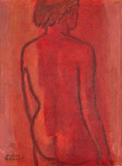 Paul COLIN (1892-1985). Nu rouge Huile sur...