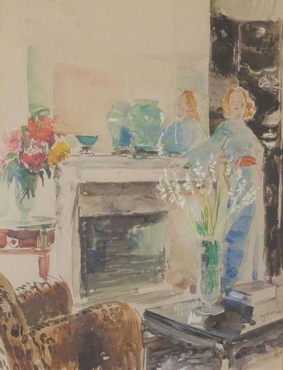 Étienne DRIAN (1885-1961). Portrait présumé de Simone BERRIAU dans un intérieur...