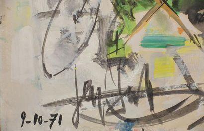 GEN PAUL (1885-1975). Café : Jardins Bosquet Gouache, signée en bas à gauche et...