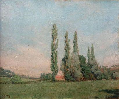 Étienne DRIAN (1885-1961). Paysage aux peupliers Huile sur toile, signée en bas...