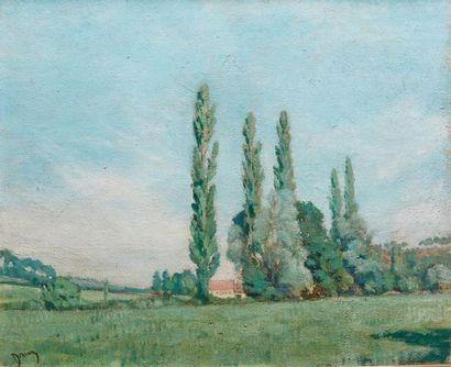 Étienne DRIAN (1885-1961). Paysage aux peupliers...