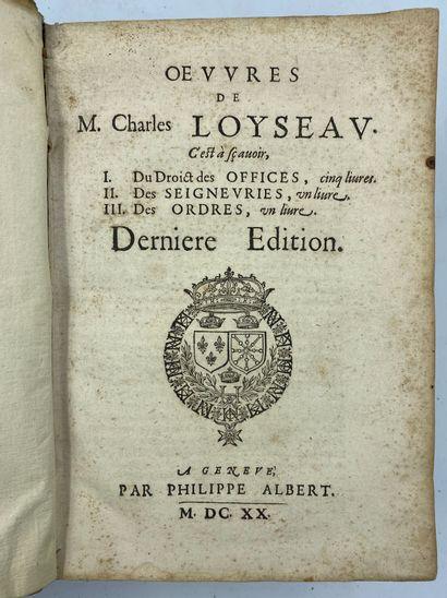 [RIGHT-LOYAL]  LOYSEAU (Charles), Œuvres...