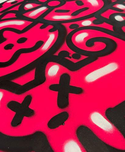 """CHANOIR CHANOIR  """"FLUO PINK CHA"""", 2014  Technique mixte sur papier signé et daté..."""