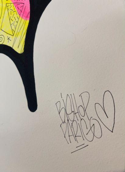 """BISHOPPARIGO BISHOPPARIGO """"PINK BIRD"""" Technique mixte sur papier signé en bas à gauche..."""