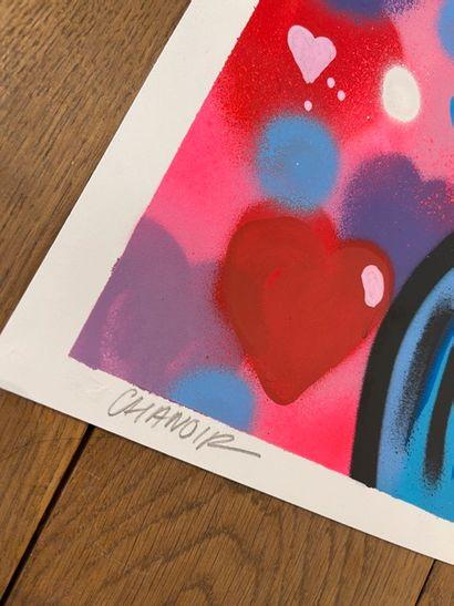 """CHANOIR CHANOIR  """"LOVE CATS"""", 2020  Technique mixte sur papier signé en bas à gauche,..."""