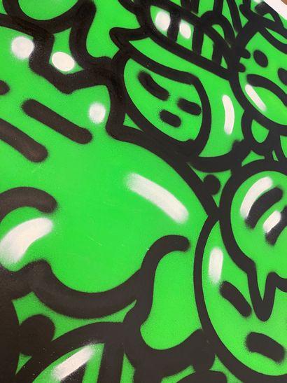 """CHANOIR CHANOIR  """"FLUO GREEN CHA"""", 2014  Technique mixte sur papier signé et daté..."""