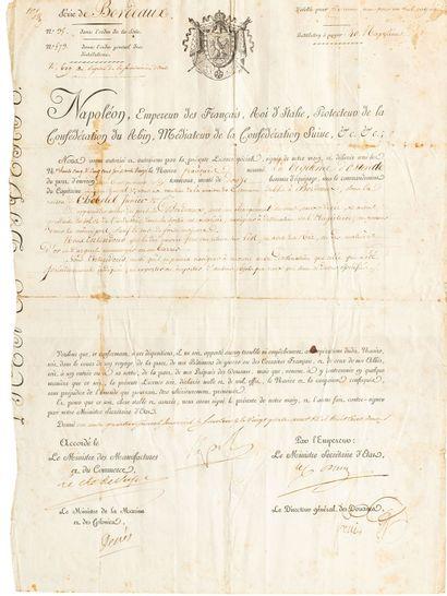 Rare licence spéciale autorisant le commerce hors du blocus continental :