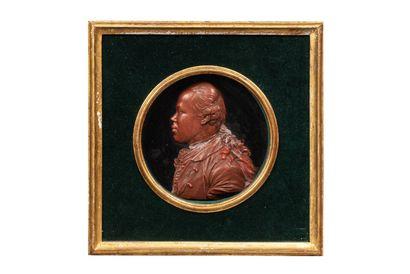 Portrait de profil d'un jeune officier, en cire, couleur terre cuite, en demi-ronde bosse ; il porte les cheveux noués avec un catogan, habit légèrement ouvert laissant apparaître la cravate, collet brodé et épaulette ; cadre carré, en bois à vue ronde, r