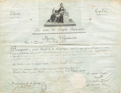 Brevet d'honneur sur parchemin en partie imprimé, vignette de la République par B. Roger, attribuant un fusil d'honneur au :