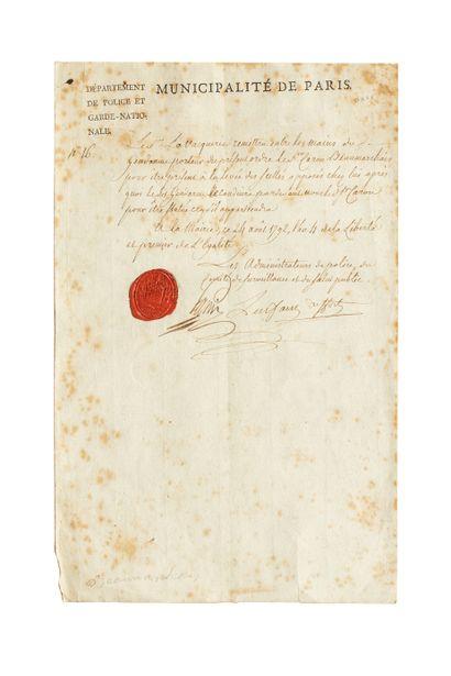 Lettre manuscrite, en-tête imprimée, concernant la levée des scellés chez le sieur Caron de Beaumarchais.