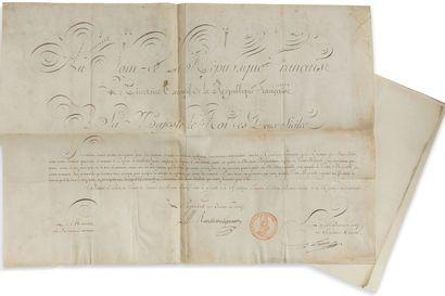 Lettre de nomination manuscrite d'un ministre plénipotentiaire du Directoire, sur parchemin :