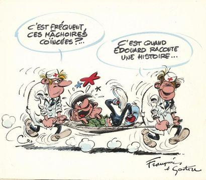 FRANQUIN ANDRÉ FRANQUIN GASTON Illustration originale réalisée en 1969 pour l'anniversaire...