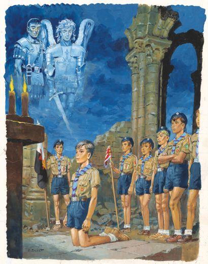 JOUBERT PIERRE JOUBERT    Veillée de promesse, illustration originale publiée en...