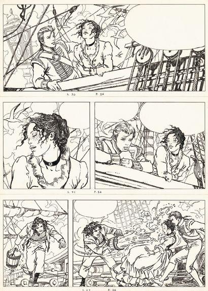 MANARA MILO MANARA  El Gaucho, Casterman 1995  Planche originale n°24, prépubliée...