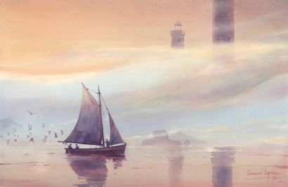 LEPAGE EMMANUEL LEPAGE  Phare de L'île Vierge, illustration originale réalisée en...