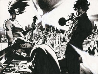 ROGER ROGER  JAZZ MAYNARD  Dargaud  Enchantement, illustration originale réalisée...