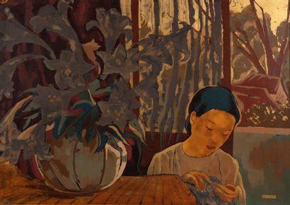 Alix AYME (1894-1989) Fillette cousant devant...