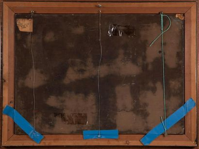 Alix AYME (1894-1989) Fillette cousant devant la fenêtre. Laque sur panneau signée...