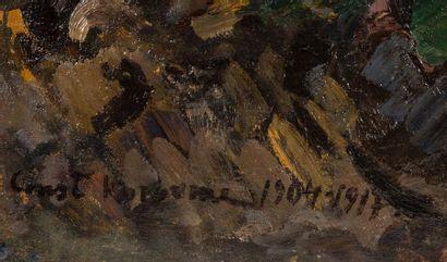 Constantin Alexeievitch KOROVINE (1861-1939) Vue parisienne nocture. Huile sur toile...