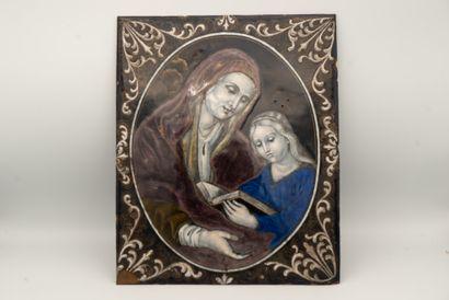 Grande plaque en émail peint polychrome...