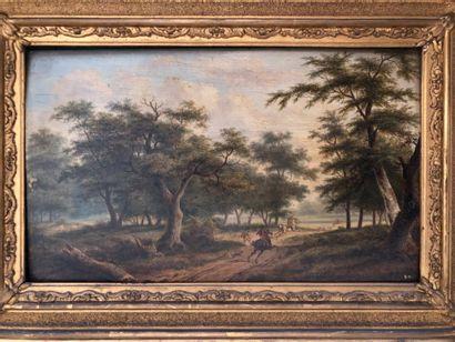 Ecole du XIXè siècle  Cavaliers dans la forêt...
