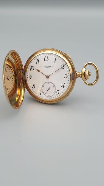 PATEK PHILIPPE n° 161506, vers 1905.  Large savonnette en or jaune 18k. Boitier...
