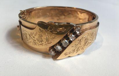 Bracelet rigide ouvrant en or jaune 18k...