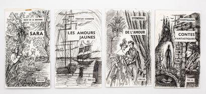 9 couvertures de romans sur carton à l'encre...