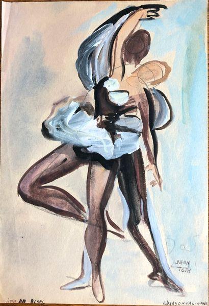 Jean TOTH ( 1899-1972) Suite en blanc.  Aquarelle...