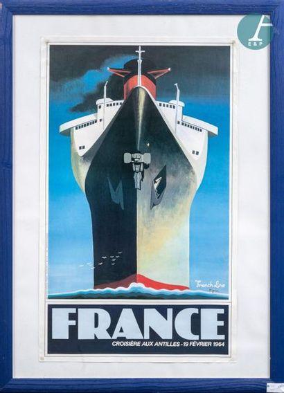 Poster of the liner France. Framed poster...
