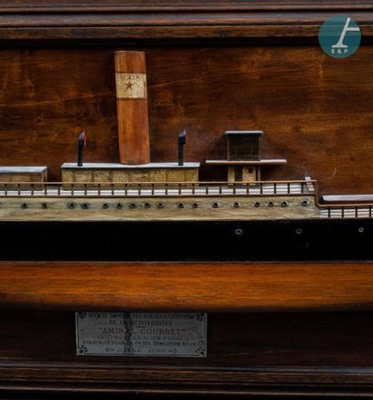 Demi-coque Half hull of Admiral Courbet, steel propeller cargo ship, built for the...