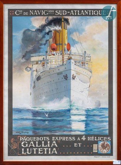 Affiche encadrée. Affiche encadrée de la Compagnie de Navigation Sud Atlantique...