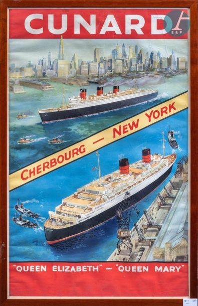 Poster of the Cunard. Framed promotional...