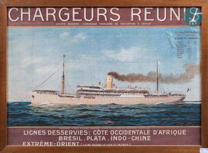 Affiche des Chargeurs Réunis. Affiche encadrée des Chargeurs réunis de 1910 de Abel...