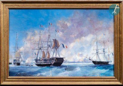 Combat naval au XVIIème siècle. Procédé...