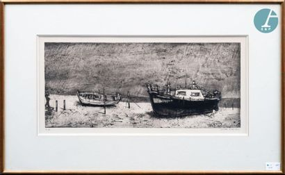 Michel CIRY (1919-2018) Michel CIRY (1919-2018), Black and white. Engraving signed...