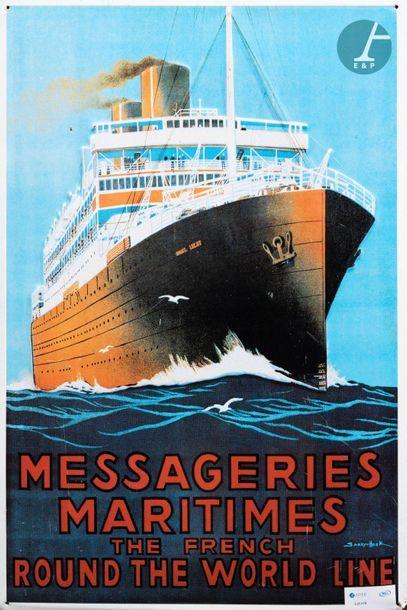 Plaque imprimée sur métal « Messagerie Maritimes French Round The World Line » de...