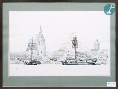 Lot de photographies. Lot d'une dizaine de photographies encadrées de navires en...