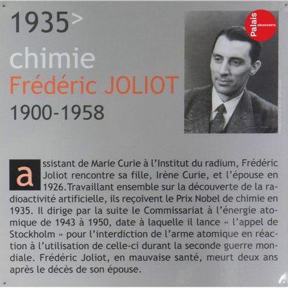 Provenant du Palais de la Découverte Set of five panels with photographs and biographical...