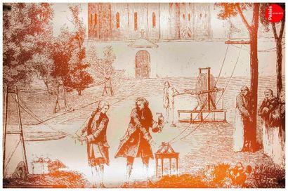 En provenance du Palais de la Découverte Set of six backlighting glass panels, decorated...