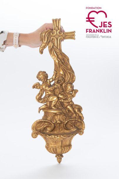 Bénitier orné d'une croix en bronze doré Liturgical object belonging to the Collège...