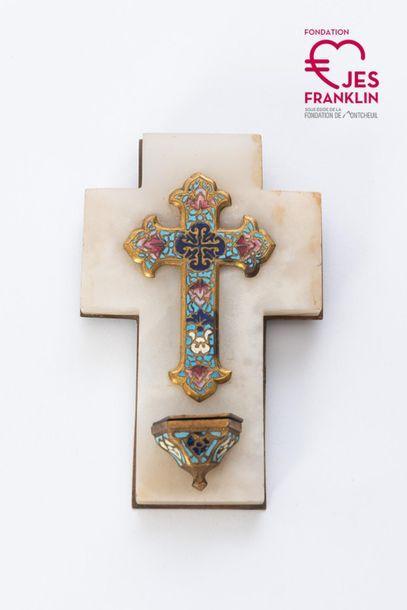 Petite croix décor émaillé