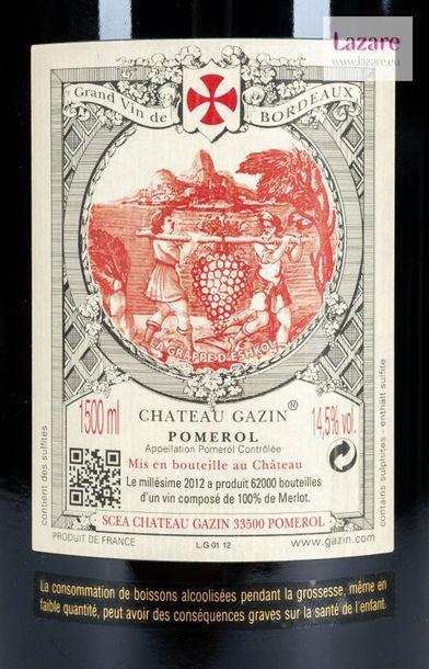 En provenance directe du château CHÂTEAU GAZIN, Pomerol. Original wooden case made...