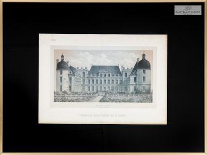 """En provenance de l'Hôtel Saint James Albany Lot de 11 pièces encadrées """"Châteaux..."""
