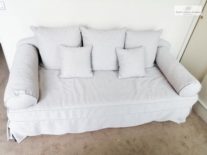 Canapé lit (1 personne), tissu gris. L :...