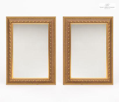 En provenance de l'Hôtel Saint James Albany Lot de 7 petits miroirs encadrement bois...
