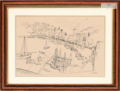 """En provenance de l'Hôtel Saint James Albany Lot de 5 reproductions encadrées, """"Paysages..."""