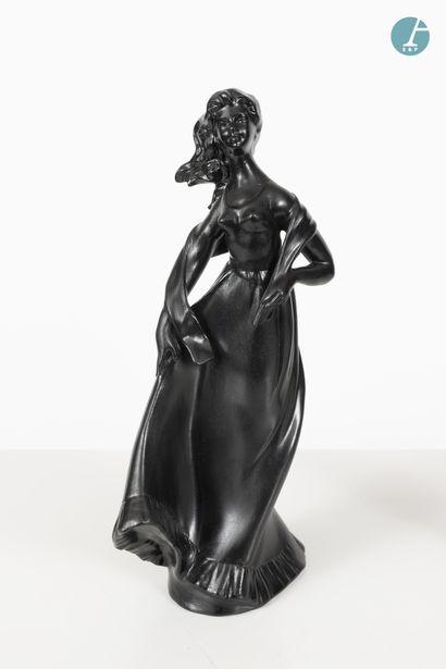 En provenance de l'ancien Hôtel W Paris-Opéra Lot de 25 sujets en céramique noire...